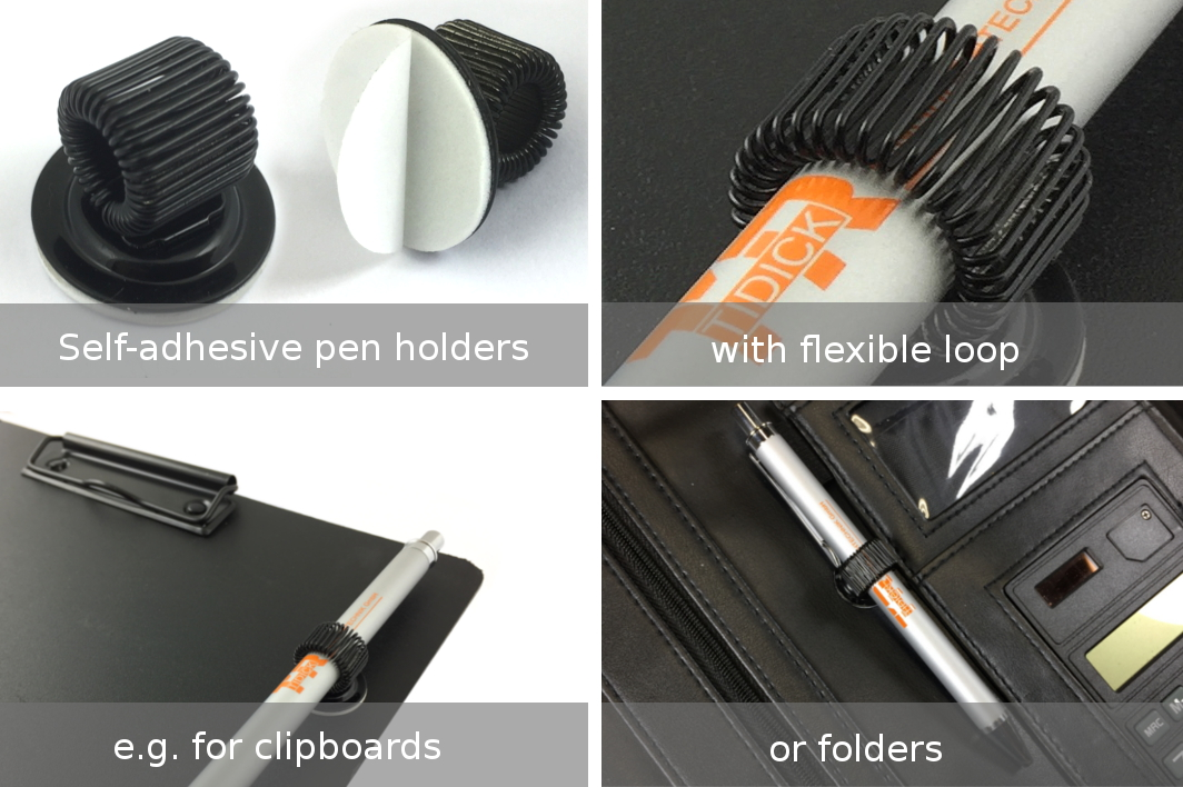 Self-adhesive pen-holders